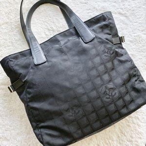 Chanel Black Jacquard Travel Line Totebag EUC